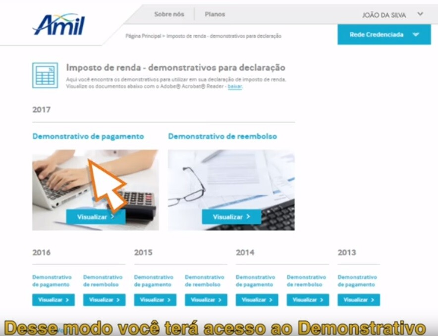 demonstrativo imposto de renda amil