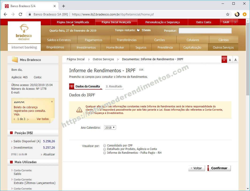 informe de rendimentos bradesco irpf 2019