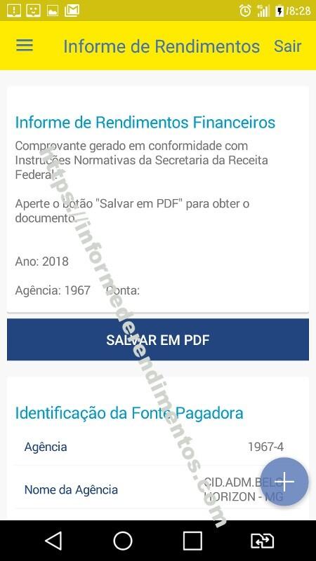 informe rendimentos aplicativo banco do brasil