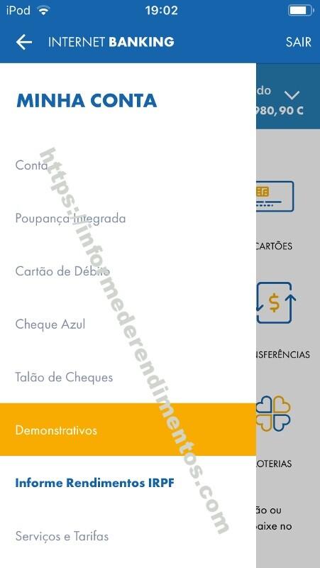 informe rendimentos aplicativo caixa